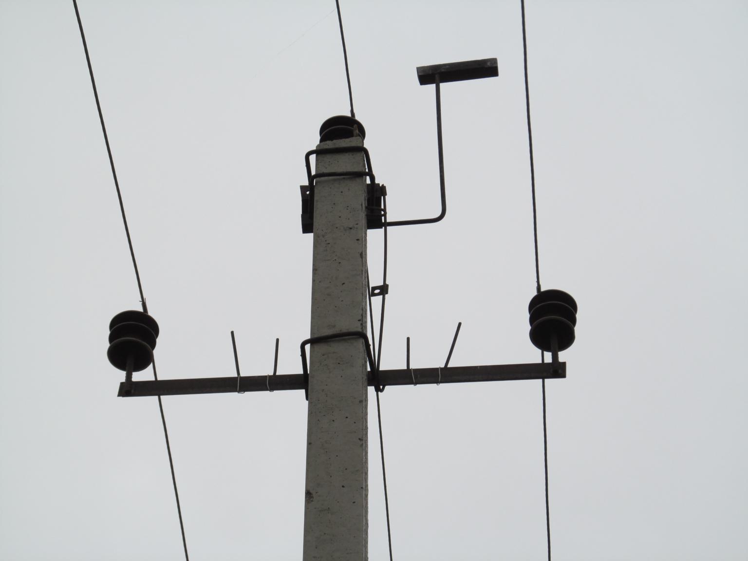 Новая! ВЛ 6 кВ, оснащённая запрещёнными в России заградителями и металлическими «присадами». Фото А. Салтыкова