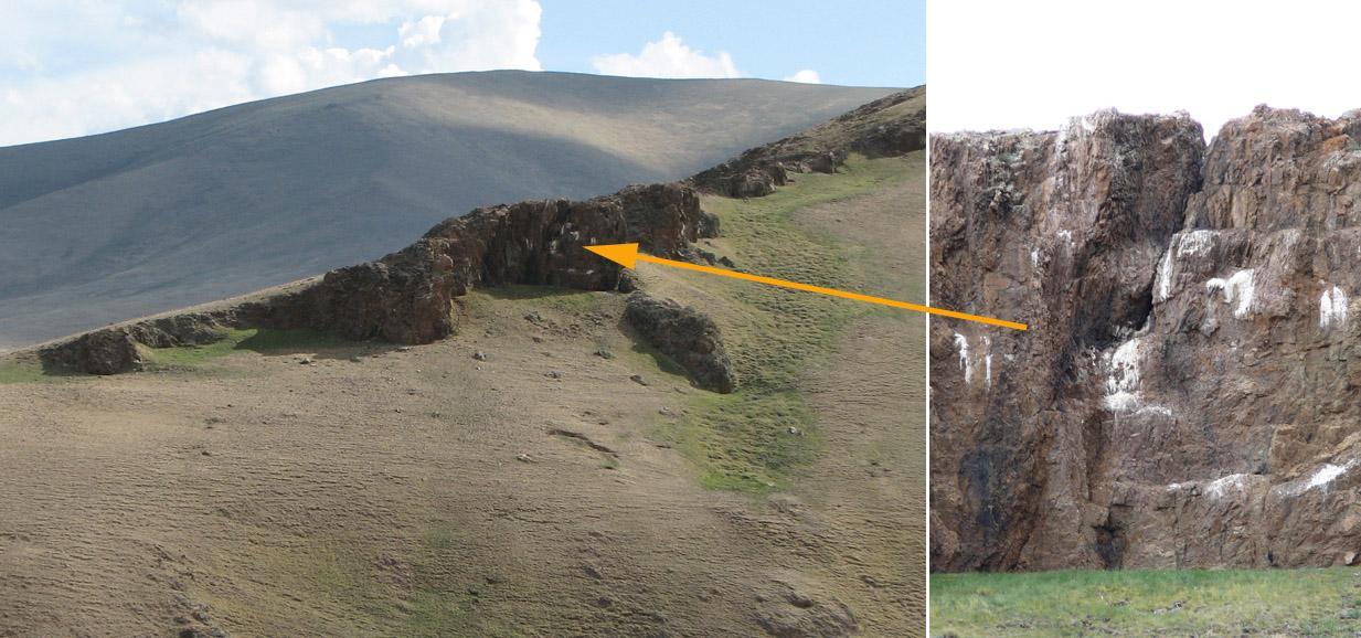Гнездо балобана на скале в высокогорьях Алтая. Фото И. Карякина