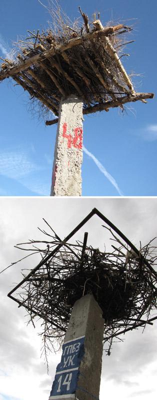 Варианты платформ сколоченных из деревянных жердей (вверху) и сваренных из металлической арматуры (внизу). Фото И. Карякина