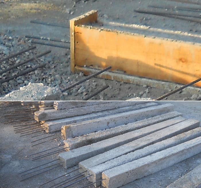 Опалубок залитый бетоном с выведенными из заглушки концами арматуры (вверху) и готовые бетонные столбы, предназначенные для установки на них гнездовых платформ (внизу). Фото А. Макарова
