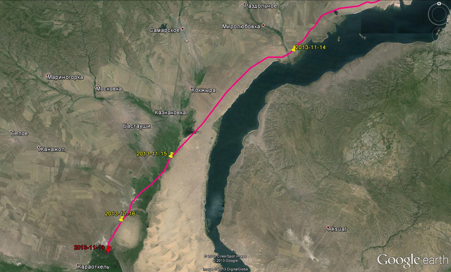 Схема перемещений Дуси за 14 ноября - 17 ноября 2013 г. Красным отмечена точка гибели птицы
