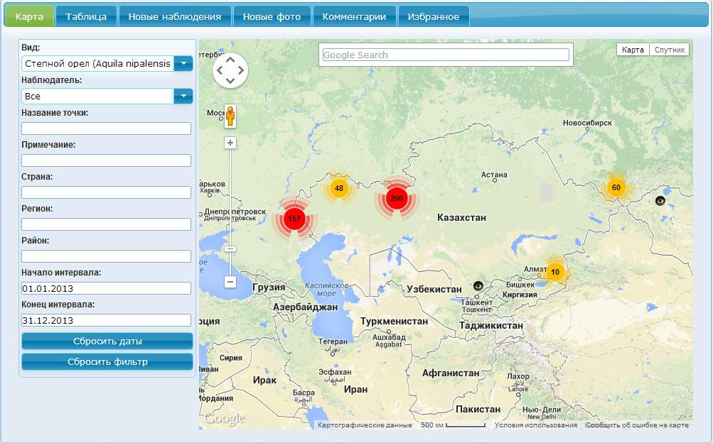 """Веб-ГИС """"Фаунистика"""": информация о встречах степного орла в 2013 г."""