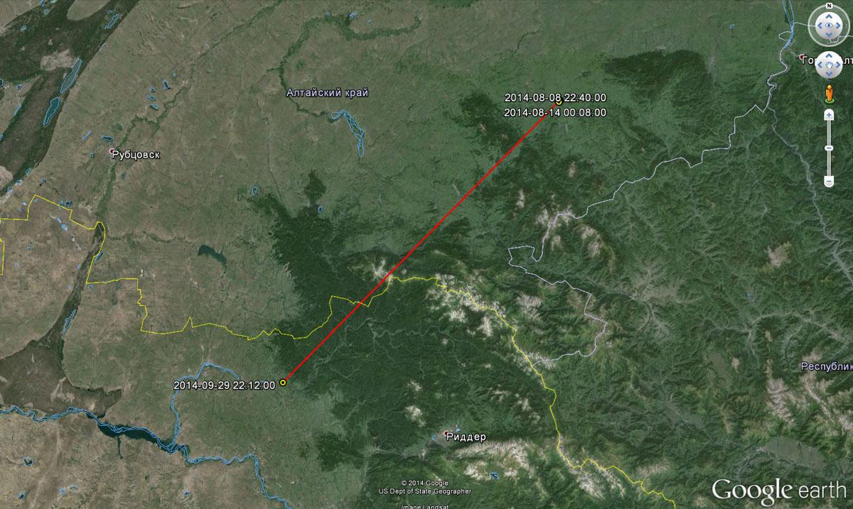 Перемещения Алтая до 29 сентября 2014 г.
