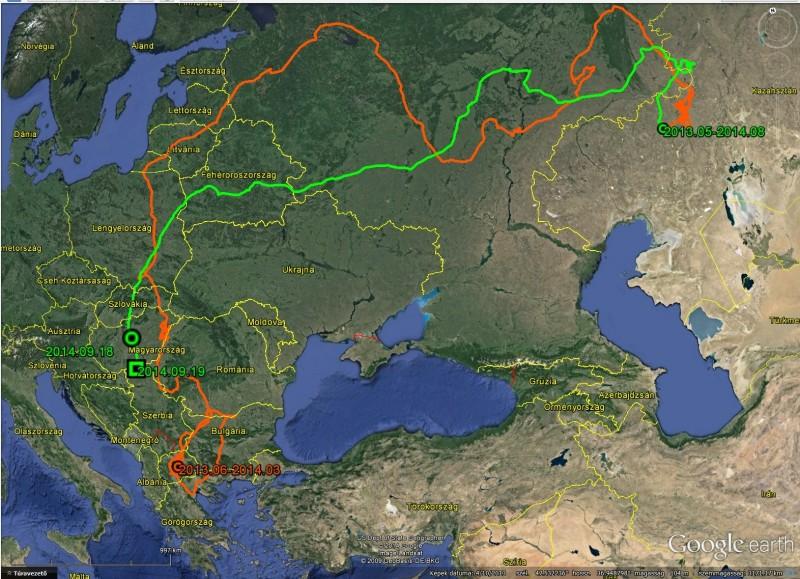Маршрут Виктории до 19 сентября 2014 (оранжевая линия - маршрут к месту летовки в Казахстане, зеленая линия - маршрут назад домой.
