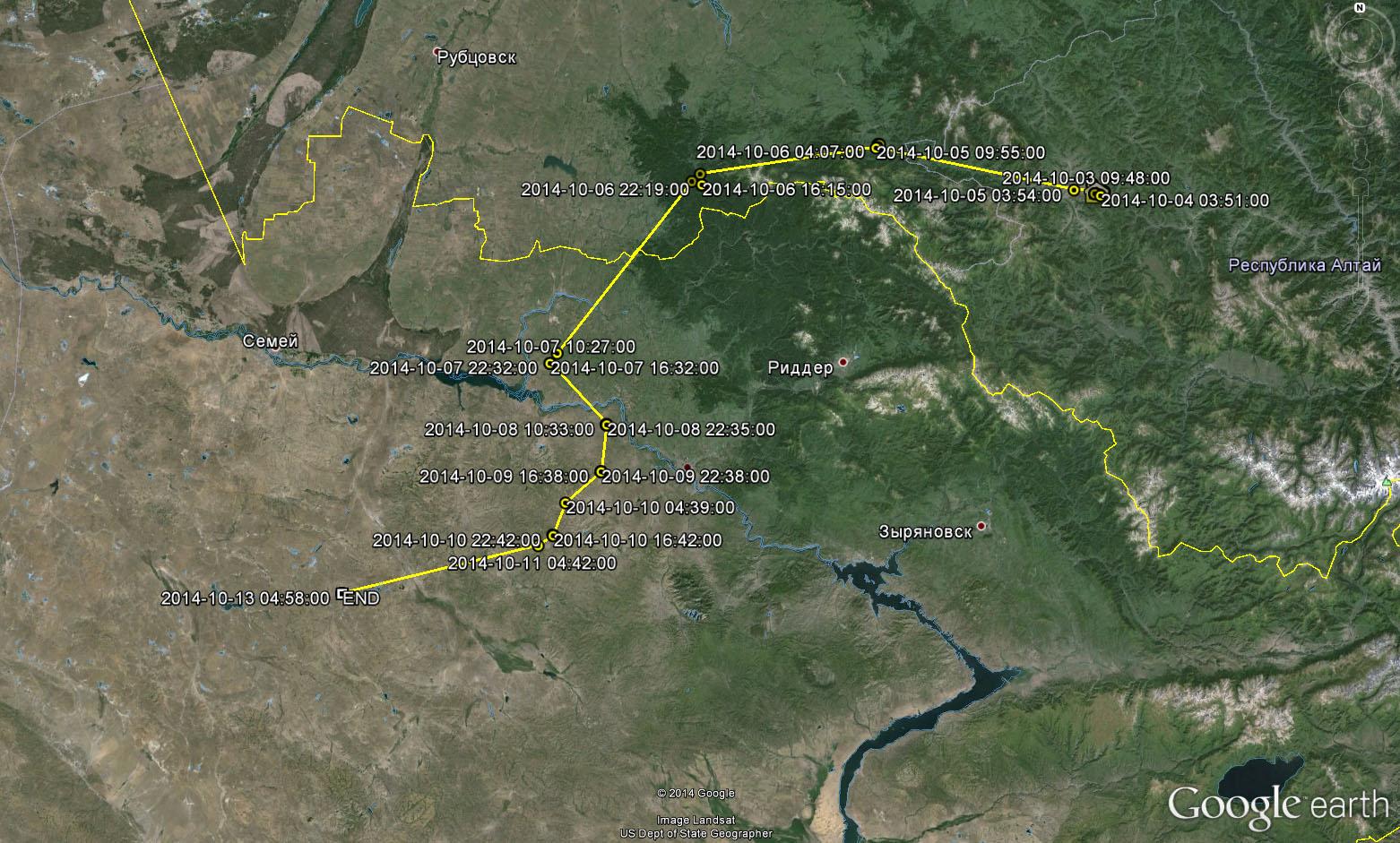 Перемещения Степаши до 12 октября 2014 г.