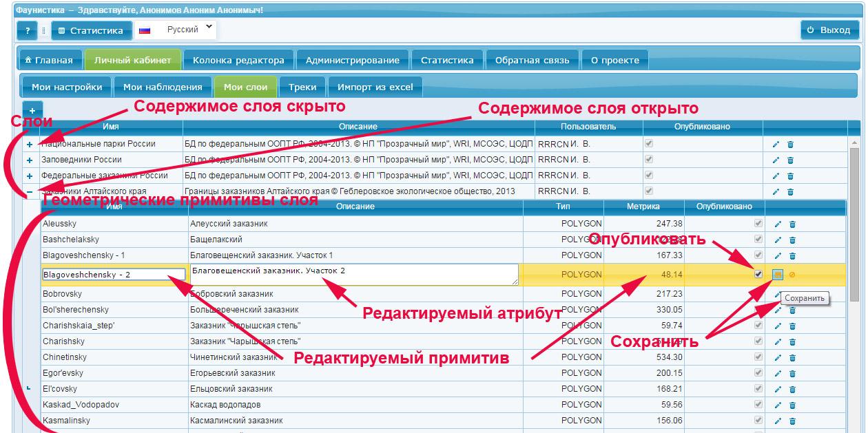 Редакция атрибутов примитива