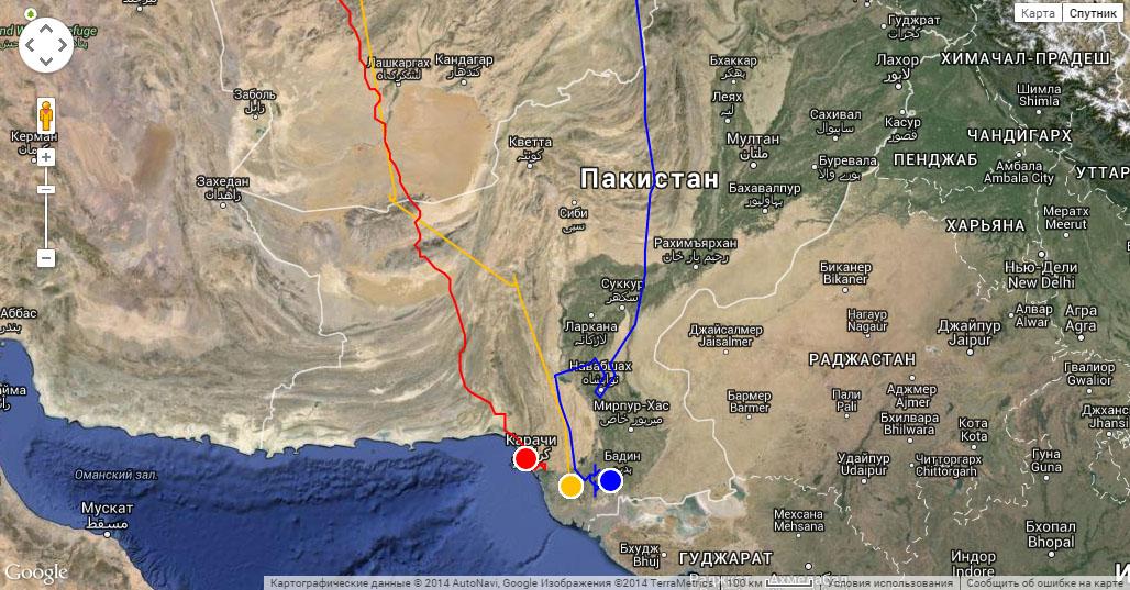Маршруты миграции к местам зимовки Ороши (красная линия), Ануйки (жёлтая линия) и Клангуши (синяя линия). Места зимовки отмечены значками соответствующего цвета по состоянию на 25 ноября 2014 г.