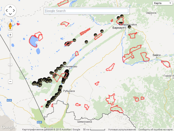 Гнездовые участки хищных птиц, осмотренные в 2014 г., и заказники Алтайского края