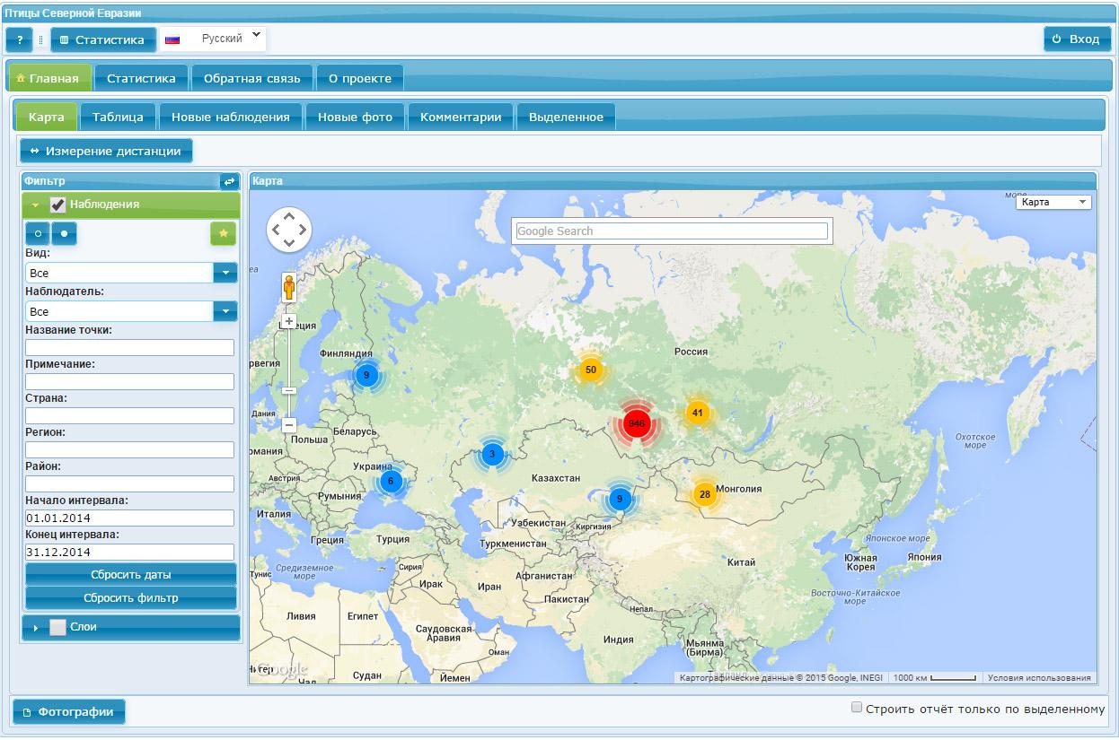 Наблюдения птиц за 2014 г. в разделе веб-ГИС «Фаунистика» - «Птицы Северной Евразии»