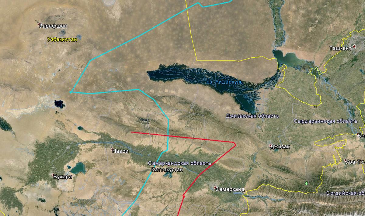 Перемещения Каночки 28-30 марта 2015 г. (красная линия) и Ануйки 24-27 марта 2015 г. (голубая линия) в районе Нуратау в Узбекистане