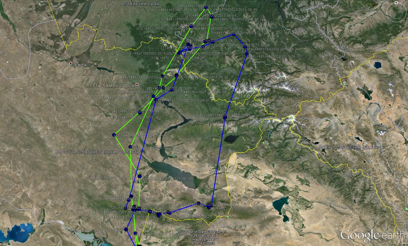 Перемещения Каночки в мае-августе 2015 г. (зеленый трек - май-июль, синий - август)