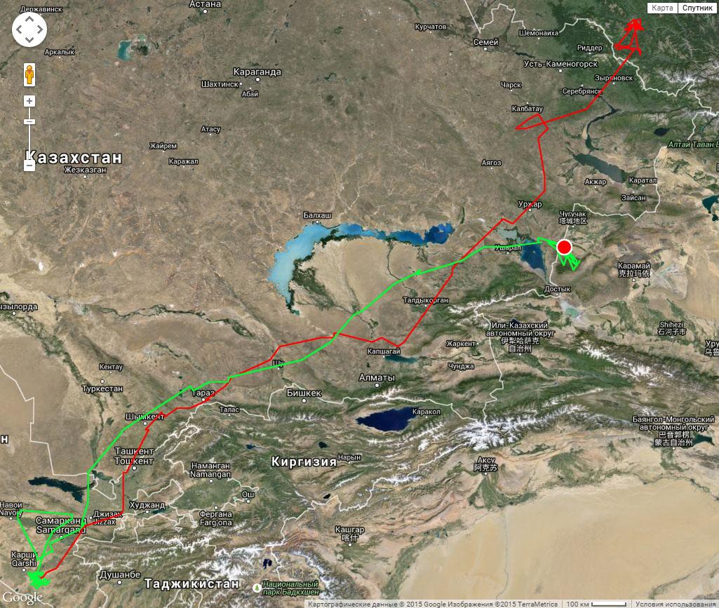 Полный трек Каночки к месту зимовки (красная линия) и к месту летовки (зеленая линия) с 19 июля 2014 г. по 6 августа 2015 г.