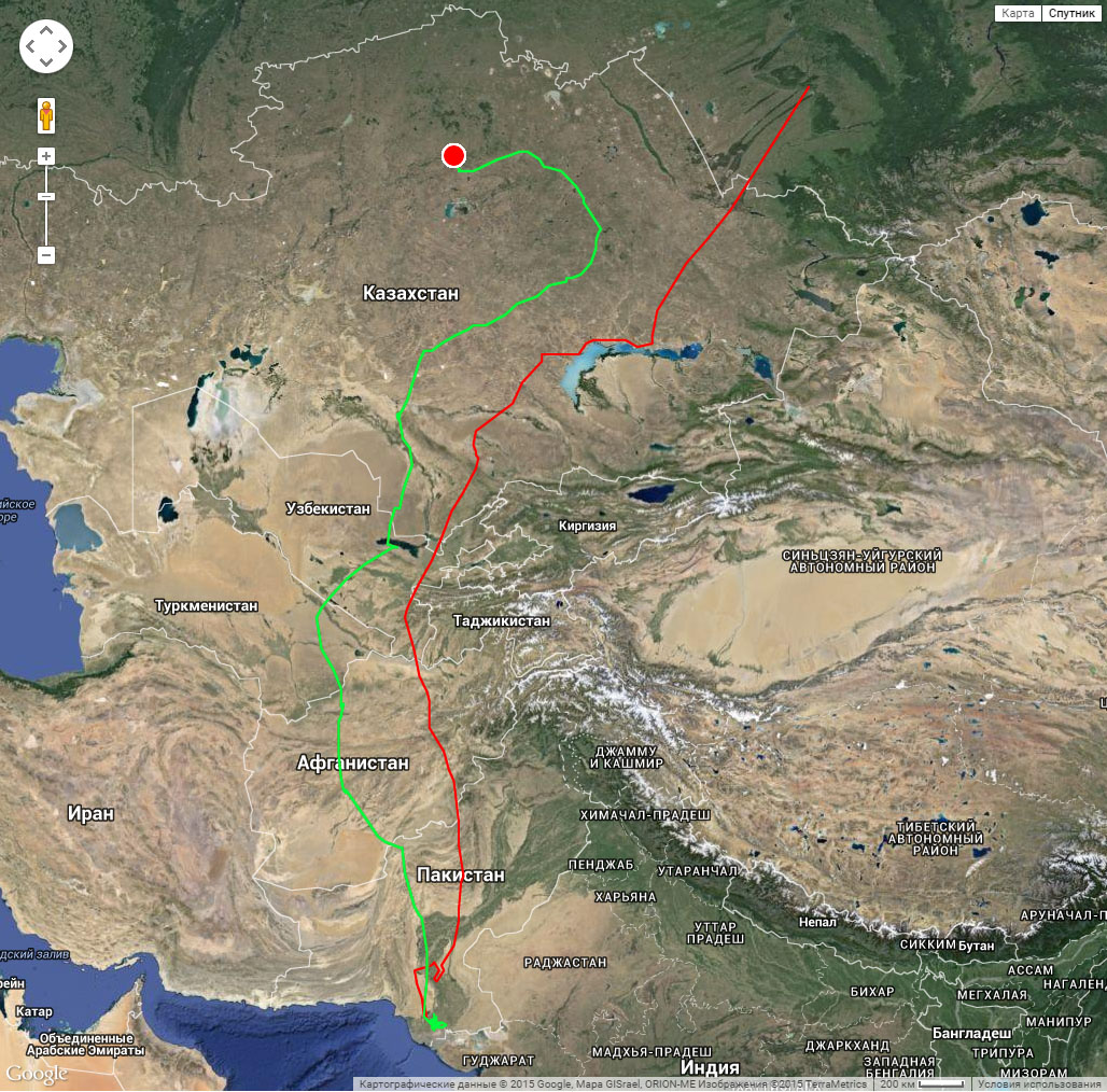 Полный трек Клангуши к месту зимовки (красная линия) и к месту летовки (зеленая линия) с 30 июля 2014 г. по 27 июля 2015 г.