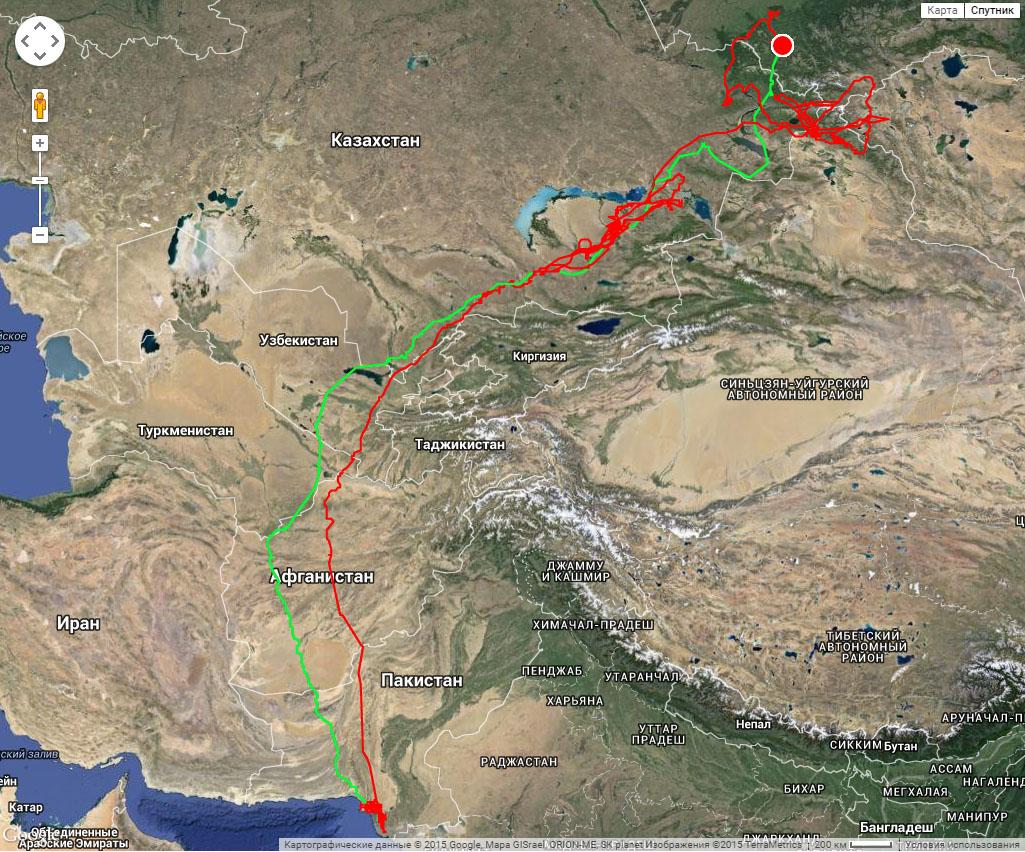 Полный трек Ороши к месту зимовки (зеленая линия) и обратно к месту рождения на лето (красная линия) с 19 июля 2014 г. по 3 августа 2015 г.