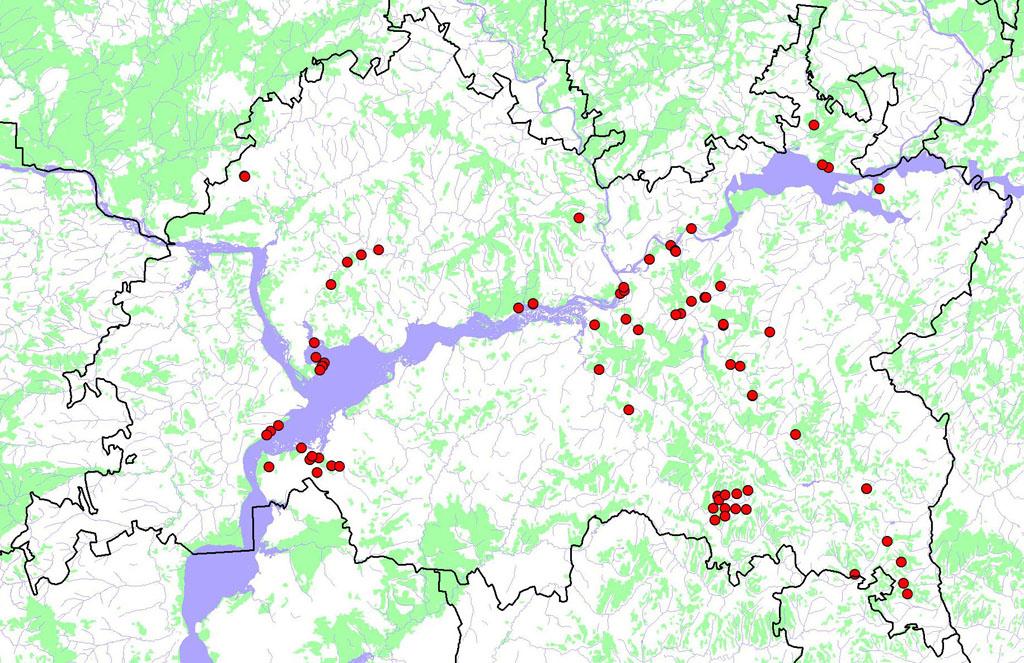 Схема распределения особо-защитных участков леса в местах гнездования крупных хищных птиц на землях гослесфонда в Республике Татарстан