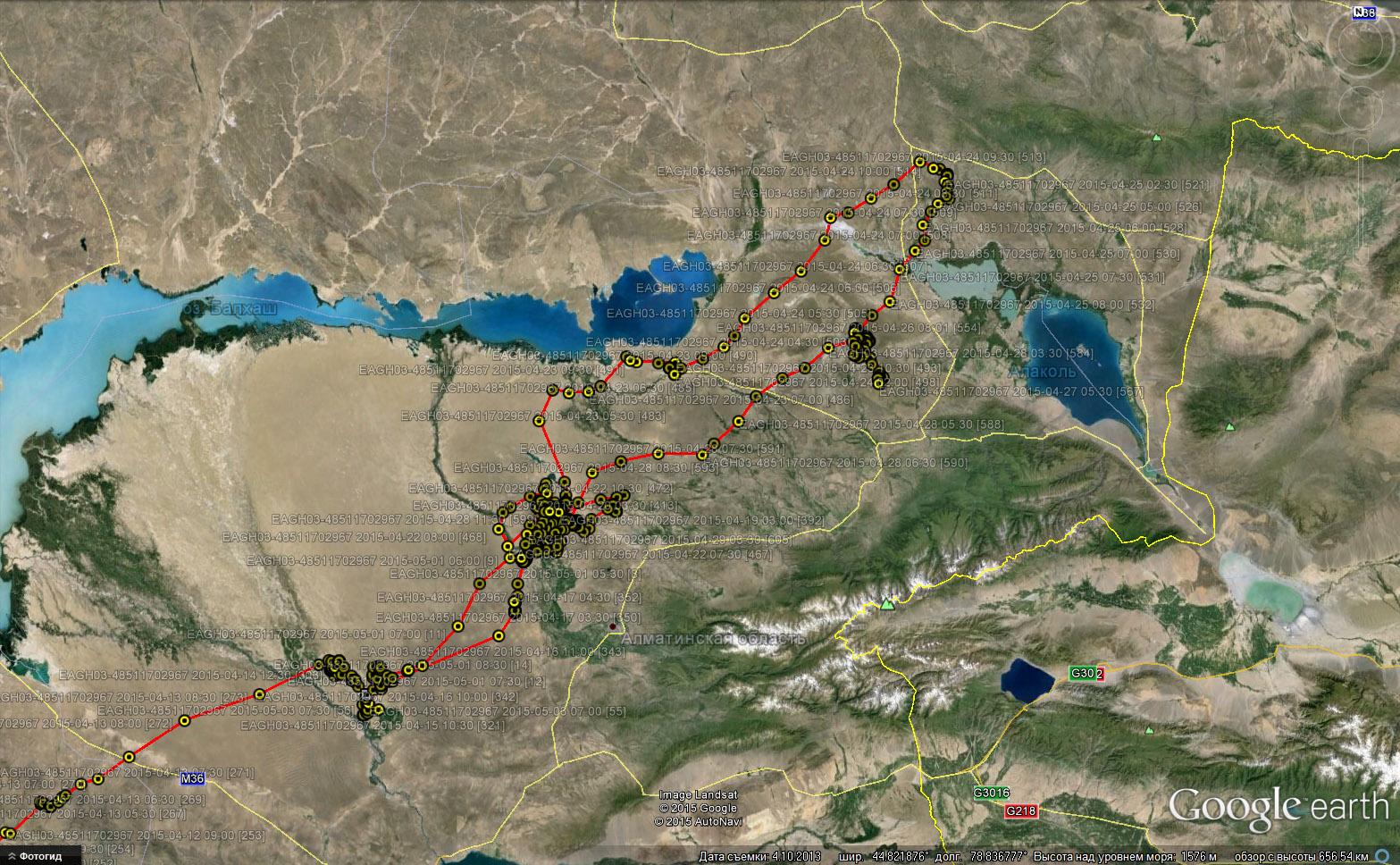 Перемещения Ороши во второй половине апреля - первых числах мая 2015 г. в Прибалхашье