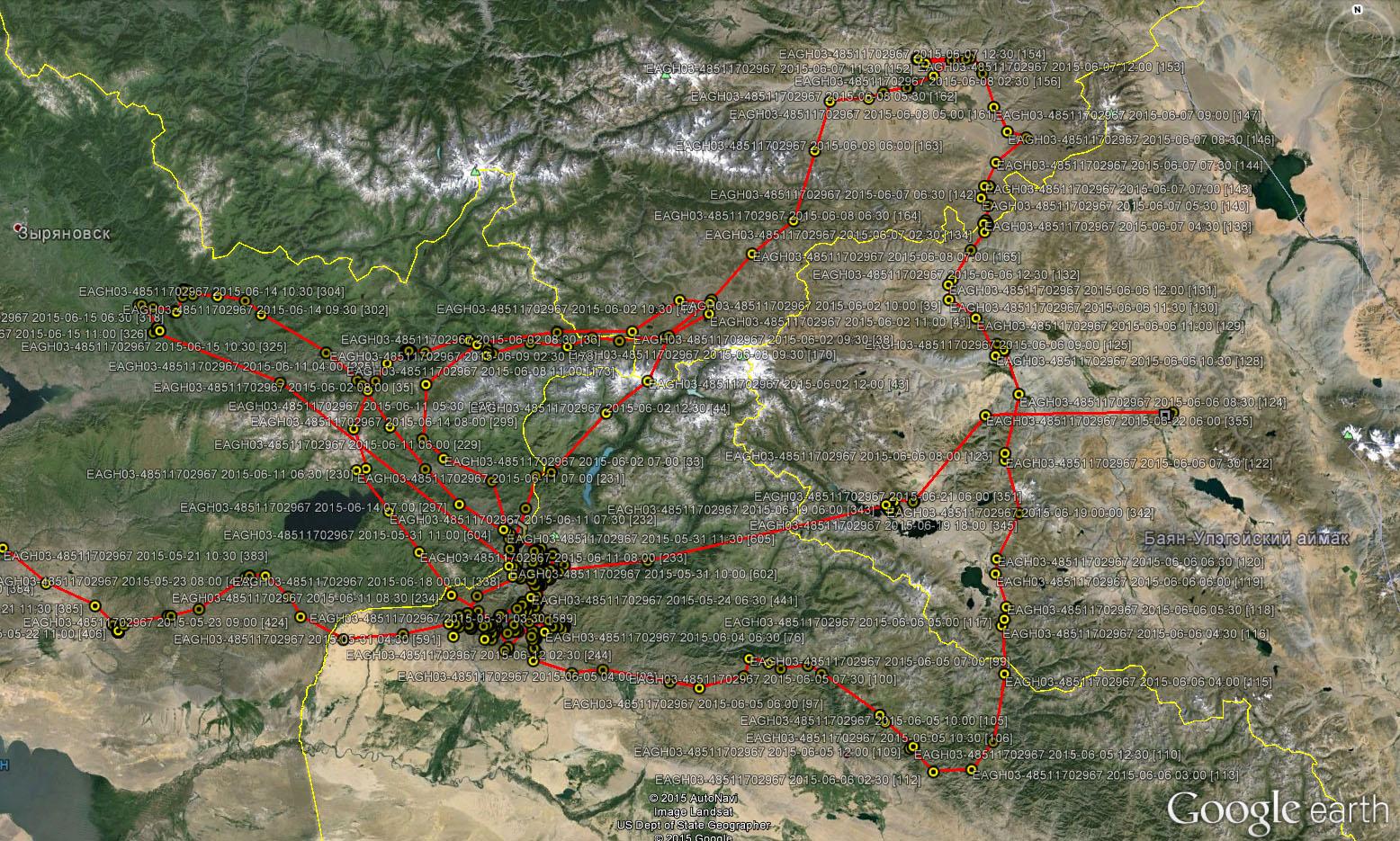 Перемещения Ороши в июне 2015 г. на Южном Алтае