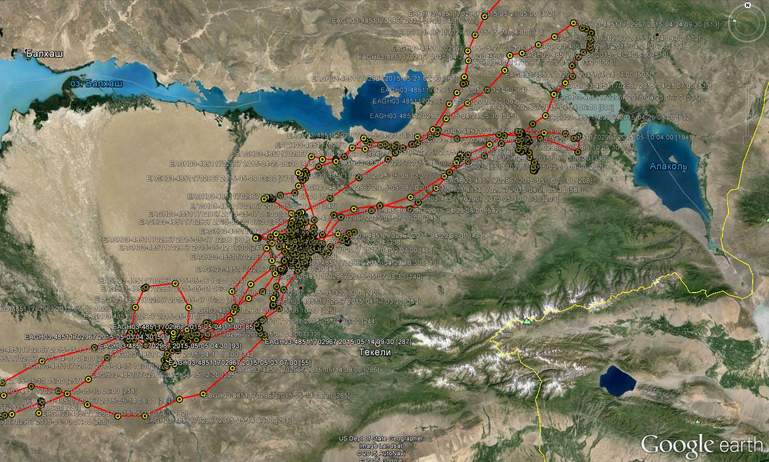 Перемещения Ороши в мае 2015 г. в Прибалхашье