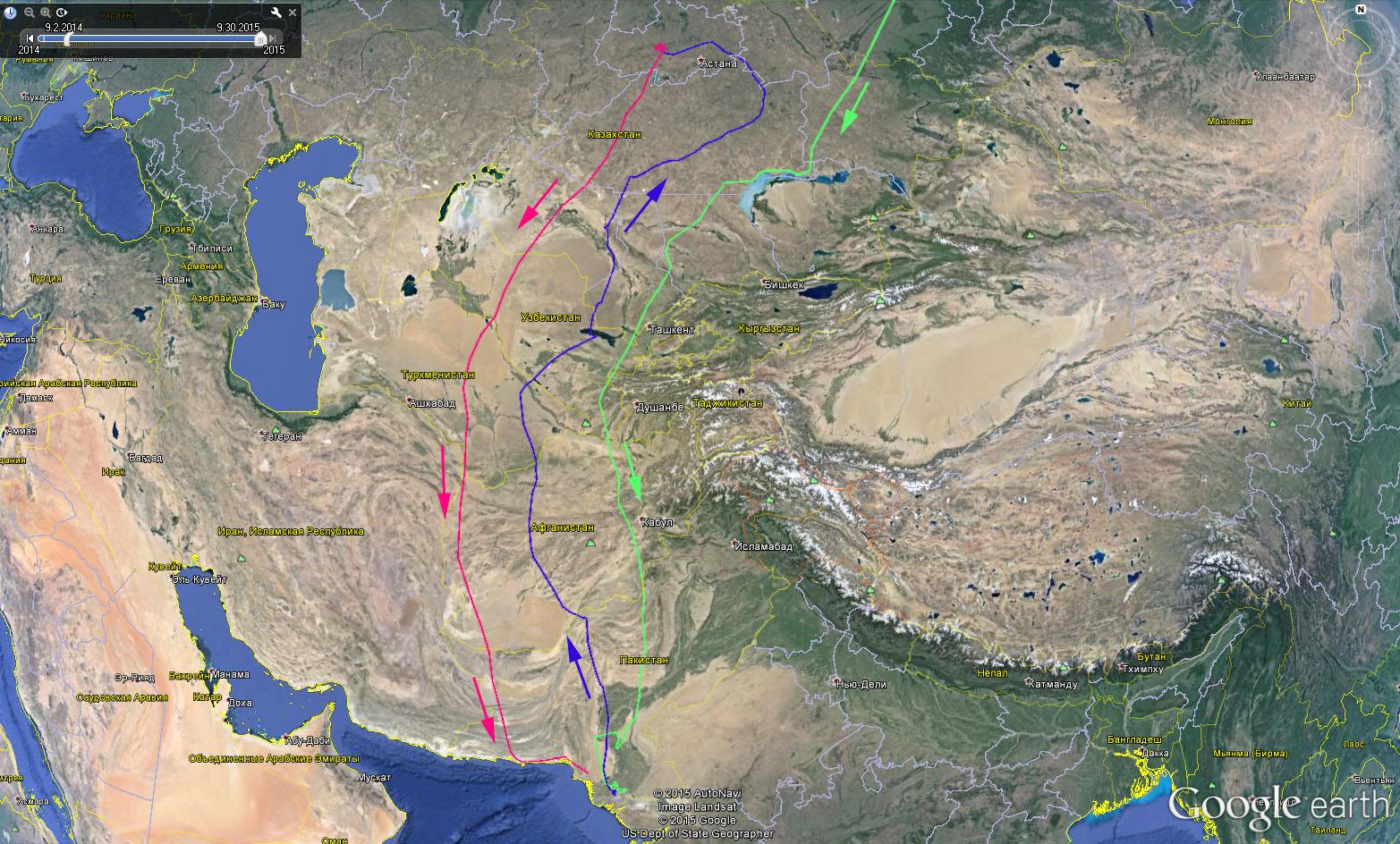 Маршруты Клангуши в 2014-2015 гг.: зеленый трек - первая осенняя миграция 2014 г., синий трек - первая весенняя миграция 2015 г., розовый трек - вторая осенняя миграция 2015 г.