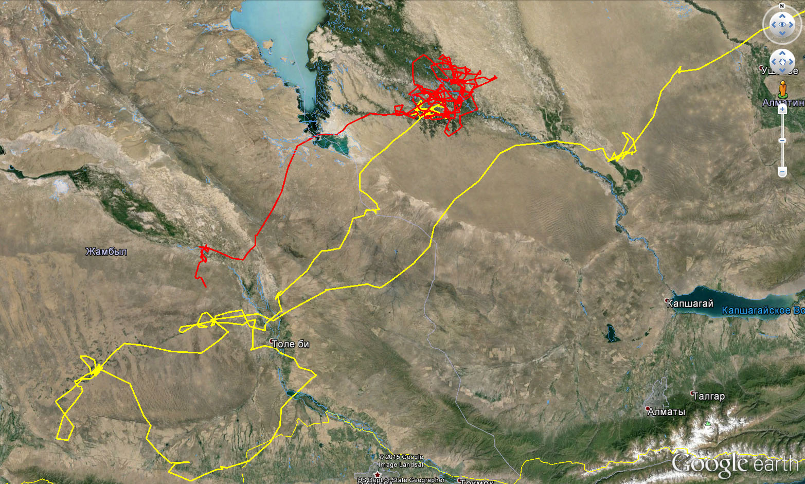 Перемещения Ороши осенью 2015 г.: жёлтый трек - сентябрь, красный трек - октябрь