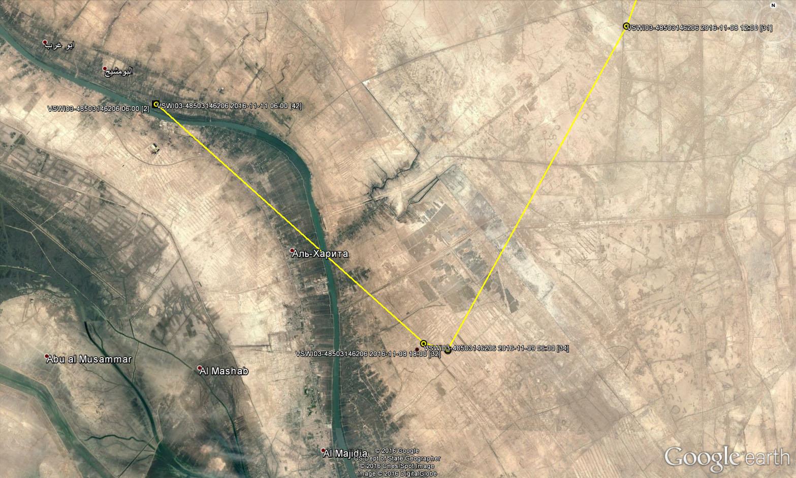 Последние локации Моисея 11 ноября 2016 г. и место в населенном пункте, куда был перевезен передатчик, откуда шёл сигнал 11-14 ноября 2016 г.
