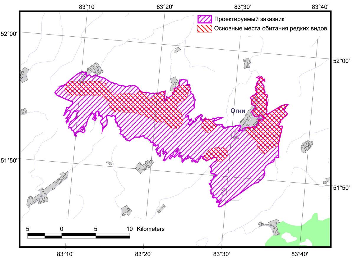 Предлагаемая граница проектируемого заказника Северный фас Алтая